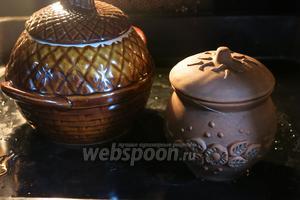 Ставим горшок в духовку при 180°С (160°С с конвекцией) на 40 минут. Используем посуду для порционной подачи или большой горшок.