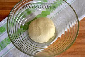 Добавляя понемногу тёплую воду, замесить тесто. Как только тесто приобретёт нужную эластичную консистенцию, продолжить вымешивать его ещё минут 10. Затем выложить тесто в миску, слегка смазанную оливковым маслом, накрыть полотенцем и убрать в спокойное место примерно на 1,5 часа.