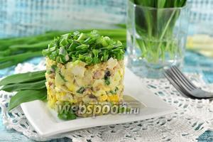 Салат из сардины в масле, риса и яблока