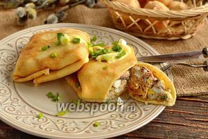 Блины с сардинами в масле, рисом и яйцами