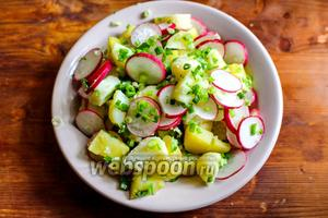 Сложите в красивую тарелку картофель, редис и зелёный лук.