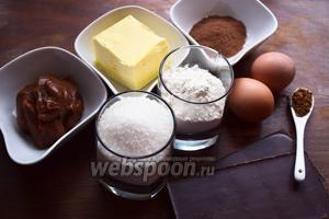 Вот такие продукты нам понадобятся: мука пшеничная, сахар, масло сливочное, яйца куриные, какао, шоколад, кофе, карамель (желательно солёная), соль.