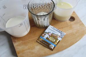 Для опары нам понадобятся сгущёнка, мука, дрожжи и молоко.