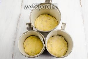 Части теста разложить по формам. Накрыть их пищевой плёнкой (сверху прикрыла полосой плёнки все формы сразу). Поставить в тёплое место на 1 час 30 минут. За это время тесто окончательно согреется и увеличится в размере в 2 раза.