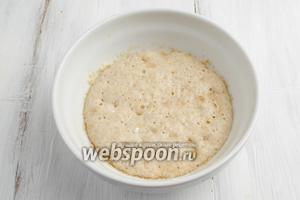 Приготовить опару. Дрожжи растереть с 1 ст.л. сахара, добавить 1 ст.л. муки. Залить тёплым молоком. Поставить в тёплое место для ферментации на 30 минут.