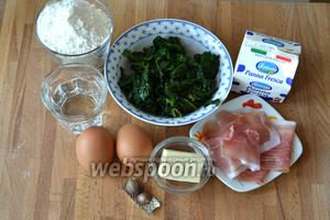 Ингредиенты для приготолвения клецек SPINATSPÄTZLE очень простые: это шпинат, мука, вода, яйца, соль и мускатный орех. Для соуса — сливки, сливочное масло и тонка нарезанная корейка (шпик) и перья зелёного лука.