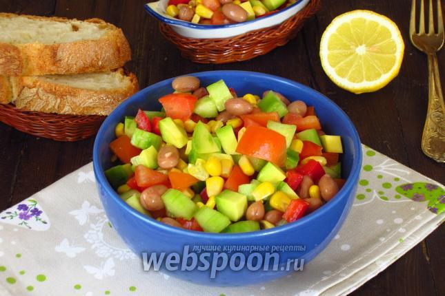 Фото Овощной салат с красной фасолью