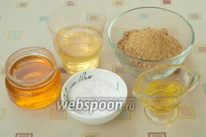 Подготовить следующие продукты: горчичный порошок, мёд, подсолнечное масло, помидорный рассол и соль.