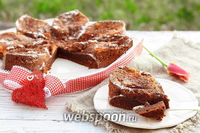 Фото Мокрый шоколадный кухен с апельсиновым курдом