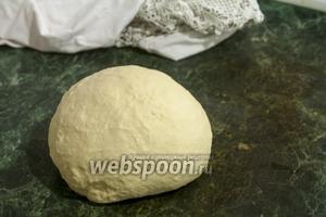 Сформованный шар вареничного теста ударяем с силой 40-50 раз о рабочую поверхность, чтобы добиться максимальной пластичности приготовляемого теста.