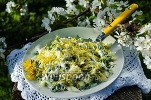 Салат из одуванчиков с огурцами