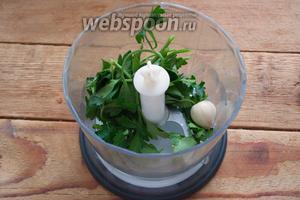 Веточки петрушки обобрать, сняв листики. Поместите листики в чашу блендера. Добавьте 1 очищенный зубок чеснока.