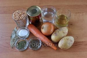 Для приготовления нам понадобится горох, картофель, морковь, лук, тушёнка (лучше всего брать говяжью, хотя готовить можно из любого мяса), лавровый лист, соль, перец, сушёная или свежая зелень, масло растительное.
