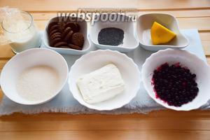 Перед вами ингредиенты для приготовления вкусного десерта: творог, сахар, молоко, чёрная смородина, лимон, мак, шоколадное песочное печенье, желатин.