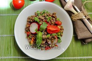 Чечевичный салат с редиской