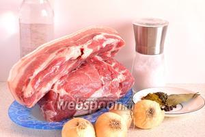 Для приготовления шашлыка нам потребуется свиная шейка, лук репчатый, специи, соль, столовый уксус (9%) и вода.