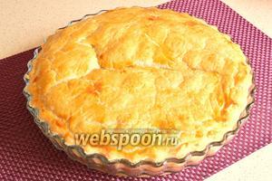 Пирог с кижучем и картофелем готов. Даём пирогу остыть и подаём.