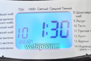 Поместим ведёрко в хлебопечку и включим программу «тесто». За 1,5 часа тесто будет вымешано и произойдёт первый подъём.