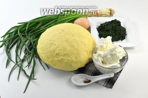 Для работы нам понадобится  дрожжевое тесто для пирожков , зелёный лук, творог, соль, перец, яйцо для смазки, крапива (уже отваренная и отжатая).