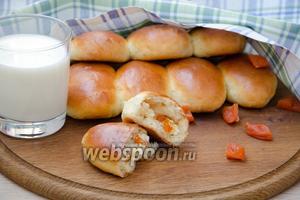Духовые пирожки с творогом и курагой, в хлебопечке