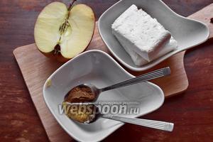 Для начинки я взяла творог (2%), 1/2 яблока, корицу и мёд.
