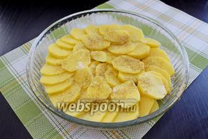 В смазанную форму (диаметр 24 см) выложить слой картофеля, посолить и поперчить.