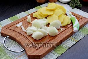 Картофель очистить и нарезать на тонкие кружочки, лук нарезать на полукольца.