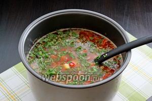 В готовый суп добавить мелко нарезанную зелень петрушки. Суп готов!!! Приятного аппетита!