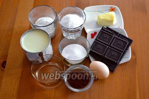 Ингредиенты: кокосовая стружка, сгущёное молоко, шоколад, сахар, куриное яйцо, мука, вода, сливочное масло, какао порошок.