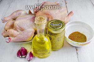 Чтобы приготовить блюдо, нужно взять тушку цыплёнка (у меня 2), масло подсолнечное; для маринада — чеснок, горчицу, масло подсолнечное, хмели-сунели, кориандр, соль, перец,