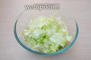 Салат айсберг порвать руками на небольшие кусочки и сложить в салатник.