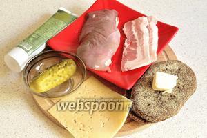 Для приготовления сэндвича с уткой приготовим филе утиной грудки (без жира и кожи), 2 ломтика сырого бекона, маринованный или солёный огурчик, острая горчица, 2 ломтика сыра, 2 ломтика ржаного хлеба (у меня краюшки), кусочек сливочного масла, растительное масло для обжарки, соль и чёрный перец.