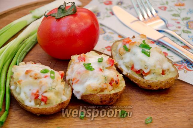 Фото Картофельные лодочки с копчёной курицей
