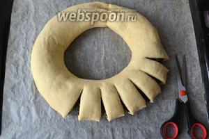 Теперь, с помощью кухонных ножниц, сделать по всей окружности рулета надрезы, не дорезая до конца. Расстояние между сегментами — около 1,5 см.