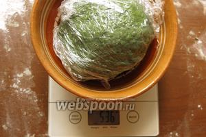 Накрываем тесто плёнкой и помещаем на 30-40 минут в холод. Выход 530 г.