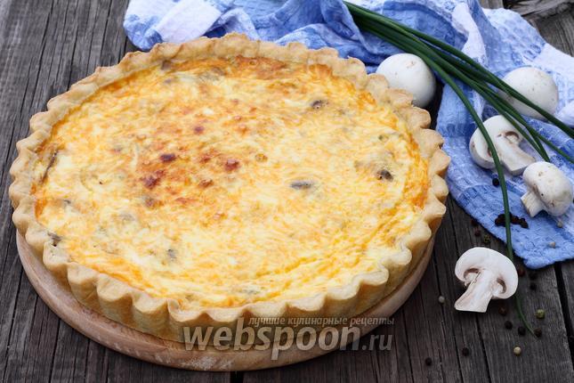 Фото Открытый пирог с грибами и сыром