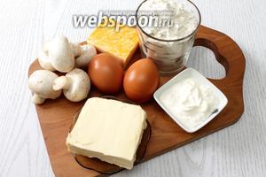Для приготовления нам понадобятся сметана, масло сливочное, мука пшеничная, яйца, соль, перец чёрный молотый, сыр твёрдый, шампиньоны, репчатый лук и масло растительное.