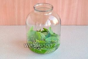 Листья черёмухи тщательно вымыть, высыпать в банку ёмкостью 3 л и слегка примять.