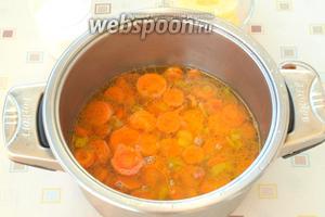 Затем содержимое переложить в кастрюлю и залить бульоном или водой. Довести бульон до кипения, уменьшить огонь и накрыть кастрюлю крышкой. Варить 30 минут, пока морковь не станет мягкой.