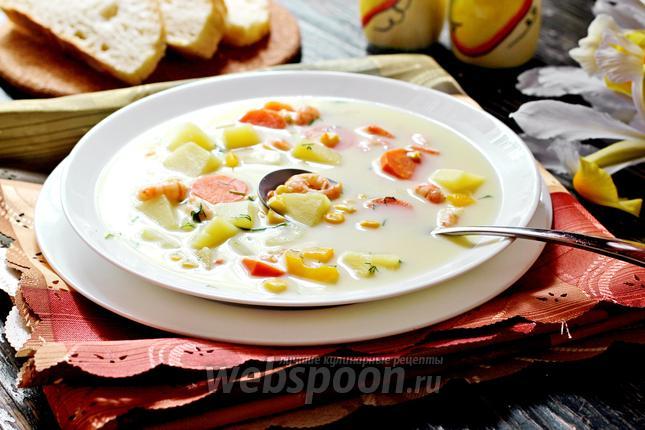 Фото Суп сырный с креветками и кукурузой