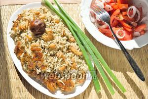 Рис с сушёными креветками и машем