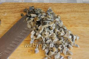 Мелко порубить грибы — их в обжарке должно быть около 2 частей на 1 часть овощей. Зависит от солёности и кислоты грибов.
