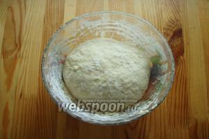 И замешиваем эластичное тесто. Собираем тесто в колобок. И отправляем в тёплое место на 1-1,5 часа, чтобы подошло.