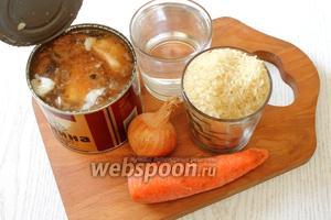 Для приготовления нам понадобятся рис, тушёнка, морковь, лук репчатый, соль, приправа для плова и лавровый лист.