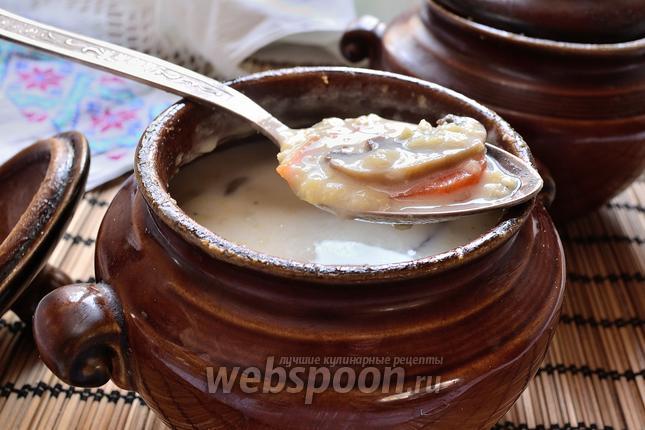 Фото Сливочный пшенный суп с грибами