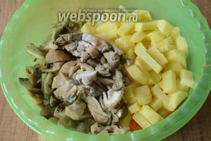 Картофель и грибы порезать кубиками.