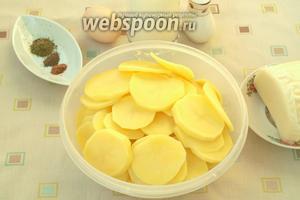 Картофель почистить и нарезать кружочками около 3 мм.