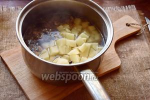 После закипания воды, положим в кастрюлю картофель, посолим и будем варить на среднем огне до готовности картофеля.