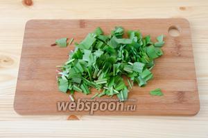 Черемшу хорошо промываем, обсушиваем и режем не очень мелко стебли и листья.