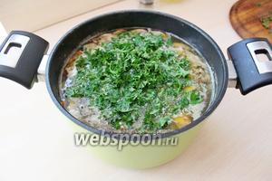 Добавить мелко нарезанную зелень петрушки. Суп готов! Приятного аппетита!